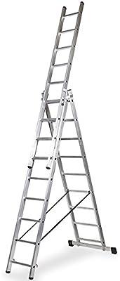Escalera 3 Tramos de Aluminio Triple Tijera con Tramo Extensible (2.5+2.5+2.5 mts). Escada Tripla (2.5+2.5+2.5 mts): Amazon.es: Bricolaje y herramientas