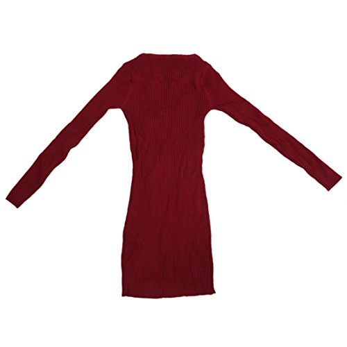 Robe tricotee - SODIAL(R)Pull robe slim de O-col tricotee Robe de maillot epais rouge vineux