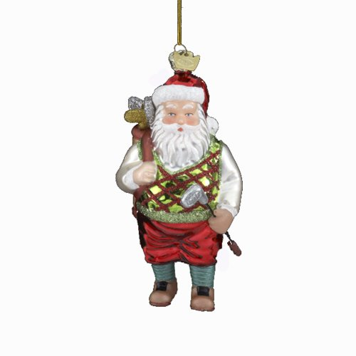 Kurt Adler 5-Inch Noble Gems Glass Golf Santa with Club Ornament