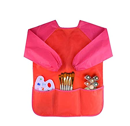Childrens Kids Art Smocks Toddler Waterproof Play Apron with 3 Roomy Pockets - Painting, Age 2-6 years(Blue) wawhy KJ00G