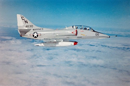 US Marines A4 Skyhawk Jet Fighter in Flight Photo Art Print Poster 18x12 inch