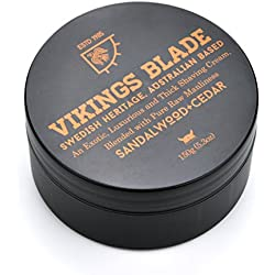 VIKINGS BLADE Luxury Shaving Cream, Traditional Swedish Heritage, Sandalwood & Western Red Cedar, 100% Pure Raw Manliness, 5.3 oz