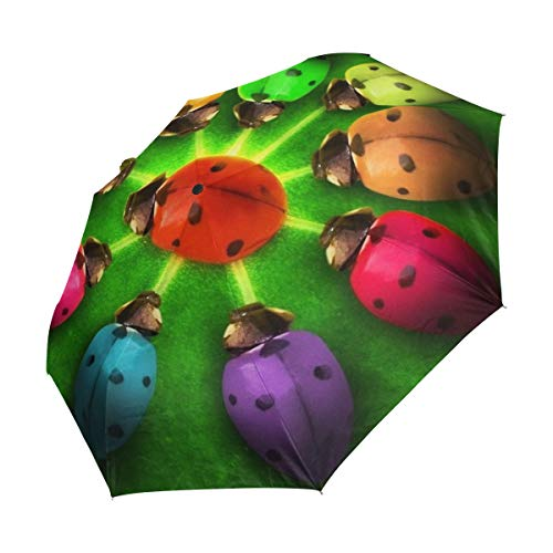 (Jacksome Ladybug Rainbow 3 Folds Auto Open Close Anti-UV Umbrella Polyester Fiberglass Ribs Waterproof Fabric )