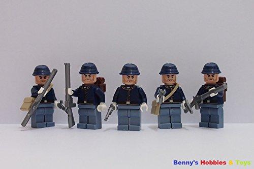 [Minifigure 5 x Civil War Army Soldier w 3 Guns and 1 Bag] (Classic Jason Costume)