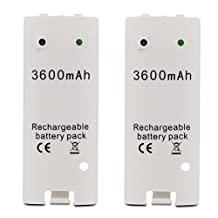 Fosmon for Nintendo Wii Replacement Rechargeable Battery Packs with Charger - 3600mAh - Fosmon Retail Packaging (2-Pack)