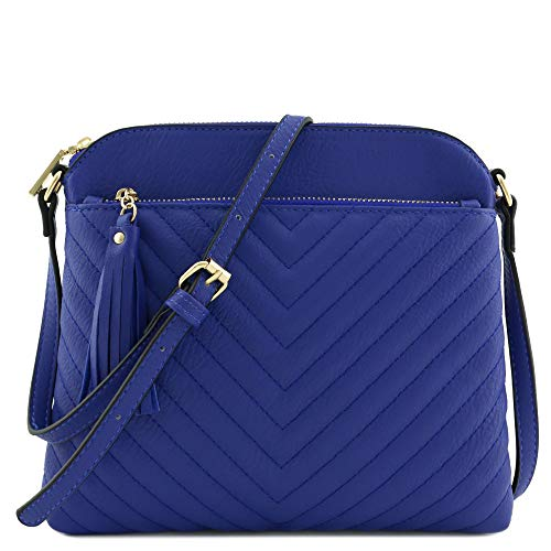 Chevron Quilted Medium Crossbody Bag with Tassel Accent (Royal Blue)]()