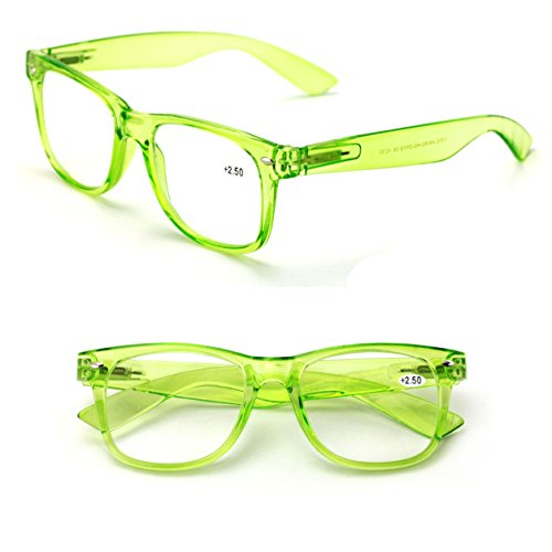 Transparent Neon Color Deluxe Reading Glasses - Comfortable Stylish Simple Readers Rx Magnification (Green, 2.00)