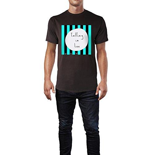 SINUS ART® Grafik Falling In Love Herren T-Shirts in Schokolade braun Fun Shirt mit tollen Aufdruck