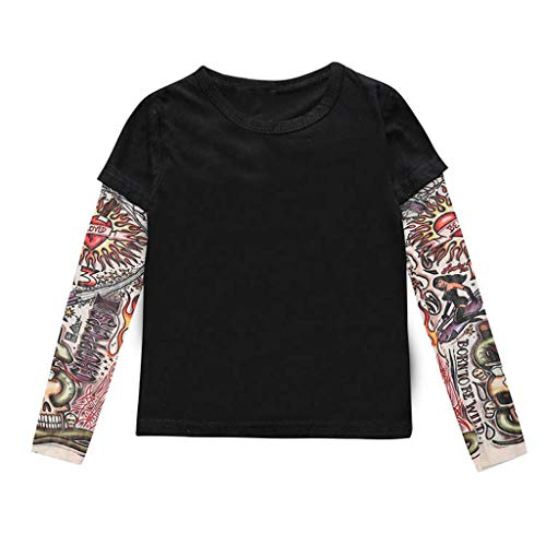 Baby Boys Long Sleeve Tops, Kids Tattoo Sleeved T-Shirt Tops Hip-hop Style Casual Clothes