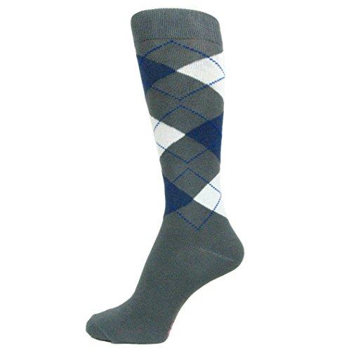 Spotlight Hosiery Men's Graduation Argyle Dress Socks-Gray/Dark Blue(Midnight) -
