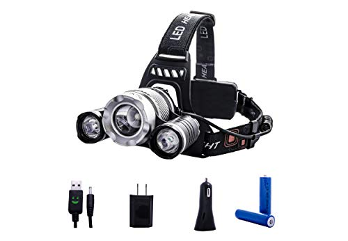 Super Sale - 3 LED Headlamp 6000 Lumen - Reliable LED Rechargeable Headlight Packed with X2 18650 Rechargeable Batteries, a USB Wall Charger, USB Car Charger and a USB Cable with Light Indicator