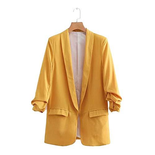 Lrud Longues Simple Couleur 5 Veste des Costumes Bonbons Manches Femmes col d'affaires chale de Revers Jaune qFBr0dwFxg