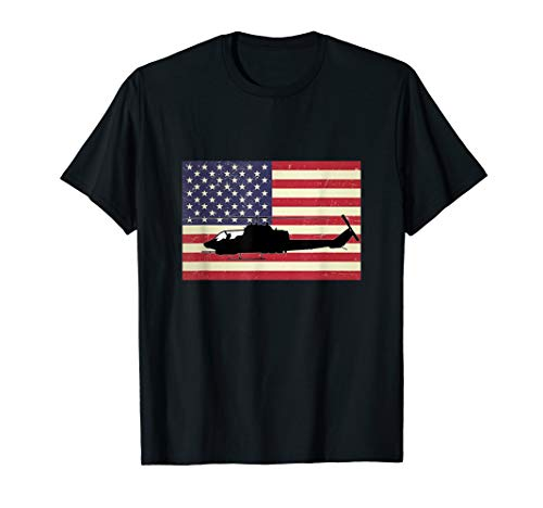 American Flag Cobra Helicopter Army Military Pilot USA Gift T-Shirt