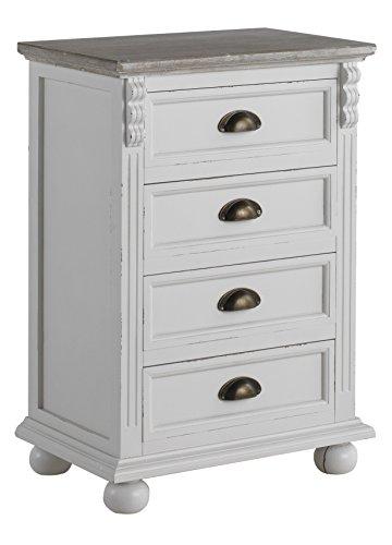 GEESE 7734 - Mesita de madera con 4 cajones, 33 x 49 x 72 cm, color blanco