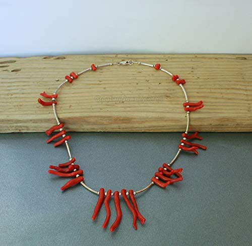 - Unique Red Coral Statement Necklace, Mediterranean Natural Coral Branch Necklace, Chandelier Necklace *Exp Shipping
