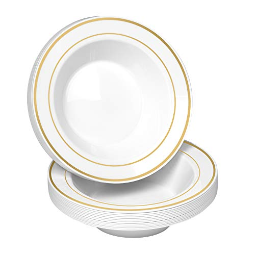 50 Disposable White Gold Trim Plastic Soup Bowls | 14 oz. Premium Heavy Duty Disposable Dinnerware with Real China Design | Safe & Reusable and Great for Parties or Weddings. (50-Pack) Gold (Bowls Fancy)