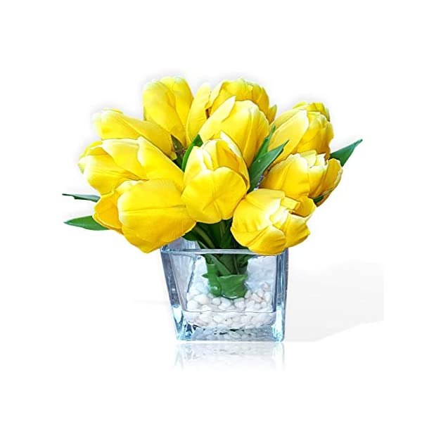 Basik Nature Artificial Flowers Tulip Floral Arrangement in Vase – Tulips Artificial Silk Flowers for Decoration (Yellow)