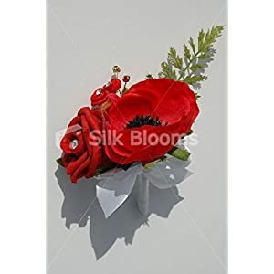 Red Anemone & Red Rose Wedding Buttonhole with Cystal Sprays 91