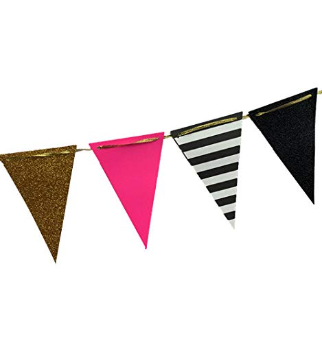 (Fonder Mols 10-feet Triangle Bunting Paper Flags Garland Decorations Tribe Party Banner for Wedding Party, Baby Shower, Girl Room Nursery Decoration (Hot Pink+Black+Black White Striped+Gold)