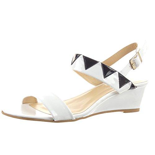 Sopily - damen Mode Schuhe Sandalen glänzende - Weiß