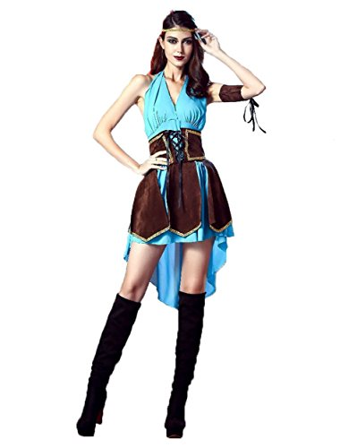 Uleade Halloween Robin Hood Royal Medieval Women Maid Fancy Dress Costume Party ()