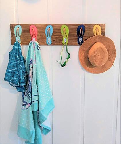 6 Hook Multi Color Flip Flop Hat Towel Suit Key Pool Rack/Coastal Beach - Hand Surf Painted Decor