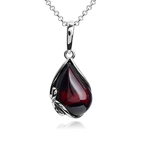 (Cherry Amber Sterling Silver Pendant Necklace Chain 46 cm)