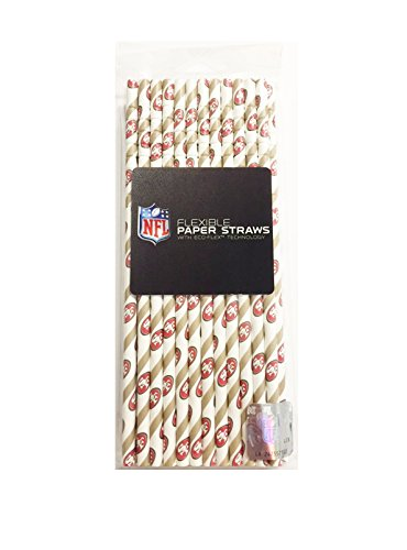 Perfect Stix NFL Straws - 49ers 24ct NFL Disposable Paper Straws, San Francisco 49ers (Pack of 24)