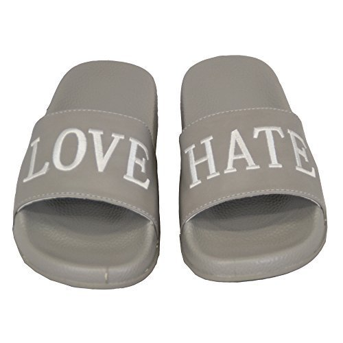 Hate Love Ladies Womens Grey Flat Shoes LOVIT CD5 Sliders Sandals Slippers on Summer Slip Mules xFIpnq