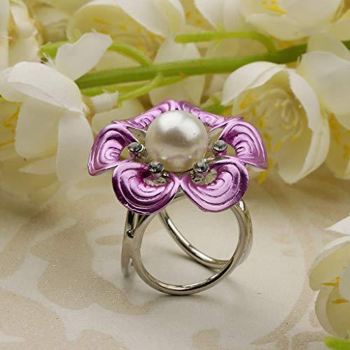 Women Elegant Scarf Buckle Ring Clip Crystal Pearl Silk Scarf Brooch Jewelry (Color - Purple)