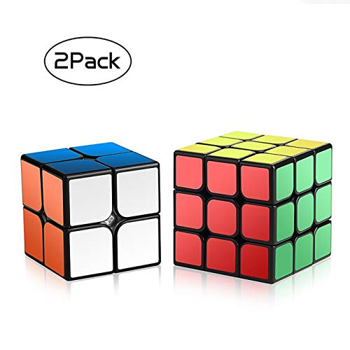 Roxenda Speed Cube Set, Magic Cube Set of 2x2x2 3x3x3 Cube Smooth Puzzle Cube