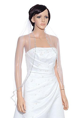1T 1 Tier Pearls Silver Beaded Wedding Veil - White Fingertip Length 36