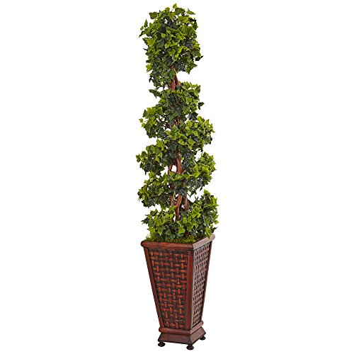 Nearly Natural 4.5' English Ivy Artificial Tree, Green (Silk Topiary Ivy)