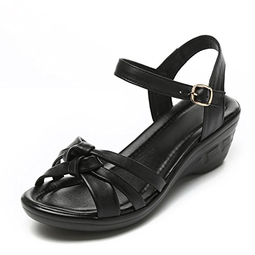 Flat Shoes Soft KPHY Heel In Middle Casual Summer Heel Leather Mother Summer Black Aged Female Slope Shoes Bottom XtqZt