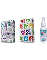 Kit com 2 Esponjas Microfibra e 1 Limpa Telas Spray 120ml, Estampas Sortidas, Flash Limp