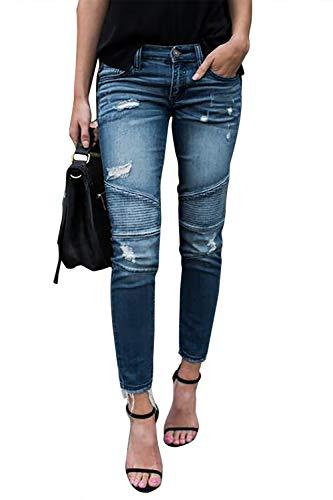 Yidarton Women's Slim Fit Skinny Denim Ripped Jeans Stretchy Boyfriend Jeans Pants Trousers Mid Waisted Stylish