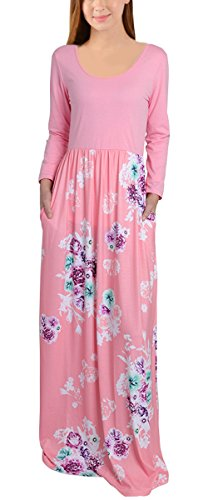 Leapparel Women 3/4 Sleeves Floral Maxi Dress Round Neck Floor-length Casual Long Dress With Pockets (M, Pink1) by Leapparel