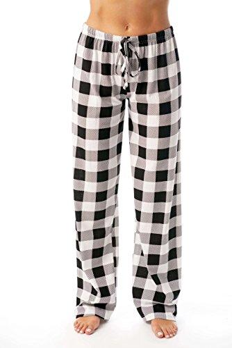 Just Love Women Buffalo Plaid Pajama Pants Sleepwear,White Black Buffalo Plaid,Medium ()