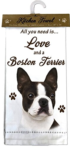 (E&S Pets 700-76 Boston Terrier Kitchen Towels, Off-White)