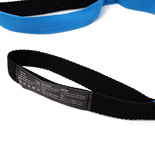 Yoga Fitness Elastic Strap with 10 Loops 6.5 Foot to Increase Flexibility, for Athletes Including Dancers, Gymnasts, Runners, Pilates and Yoga or Hammock Tree Straps