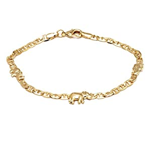 Barzel 18K Gold Plated Flat Marina Elephant Anklet, 10 Inches