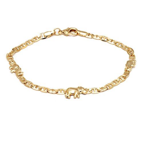 Barzel 18K Gold Plated Flat Marina Elephant Anklet 10 Inches