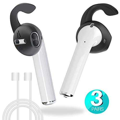 MRPLUM Ear Hooks and Covers Accessories Anti-Lost Silicone Earbuds Ear Tips Compatible with Apple AirPods 1 & 2 or EarPods Headphones 3 Pairs (Black)