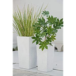Canary Products PL2915GR Xbrand Modern Nested Grey Square Flower Pot Planter, , 29 Inch & 24 Inch Tall