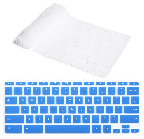 CaseBuy Ultra Thin Keyboard Cover Compatible HP 14 inch Touch-Screen Chromebook/HP Chromebook 14-ca Series/HP Chromebook 14-ak Series/HP Chromebook 14 G2 G3 G4 US Layout, Blue + Clear