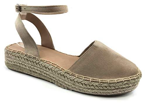 Womens Ankle Wrap Espadrille Platform Sandal, Oatmeal Oat ISU Taupe, 6.5