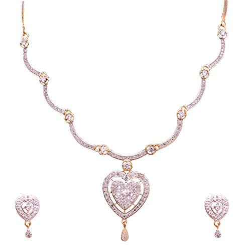 Sitashi Imitation/Fashion Jewellery Valentine Collection Stylish American Diamond Occasion Wear Pendent Necklace Set For Women