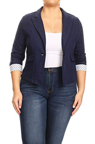 Plus Size Solid Cuff Polka 3/4 Sleeve Pocket Button Closure Blazer Jacket Navy - Linen Blazer Women