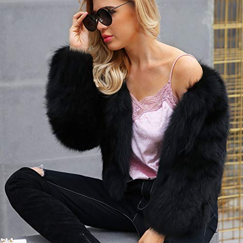 Faionny Women Faux Fur Coat Fur Collar Jacket Coat Solid Parka Windbreaker Warm Zipper Jacket Autumn Winter Outwear Black at Amazon Womens Coats Shop