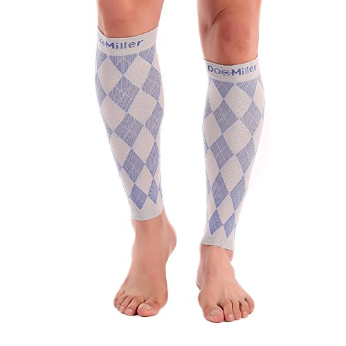 Doc Miller Premium Calf Compression Sleeve 1 Pair 20-30mmHg Strong Calf Support Graduated Pressure for Sports Running Muscle Recovery Shin Splints Varicose Veins (Argyle Gray.Blue, ()